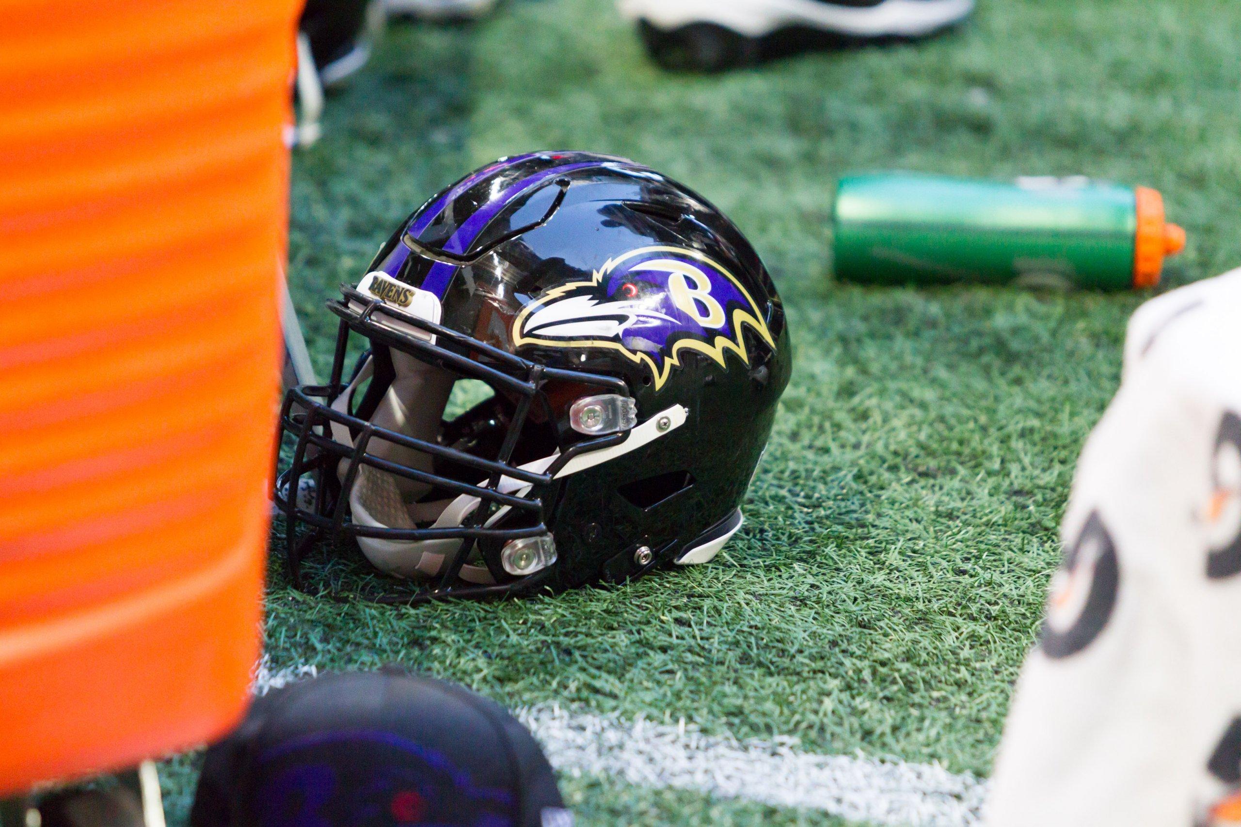 Baltimore Ravens helmet and pylon Dec 2, 2018, Atlanta