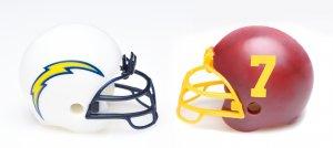 Chargers vs Washington Football Team helmets